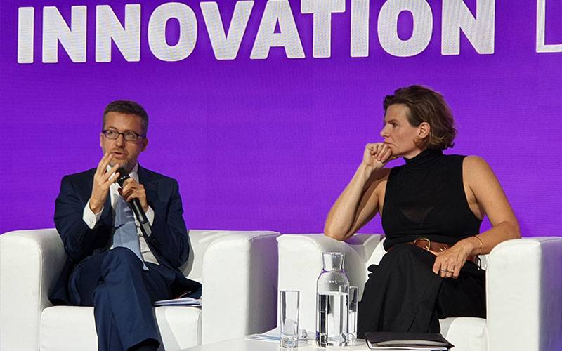 Carlos Moedas and Mariana Mazzucato in Brussels