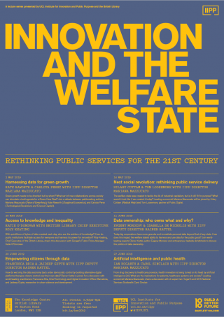 Innovation and the Welfare State poster in blue