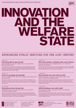 Innovation and the Welfare State poster in pink