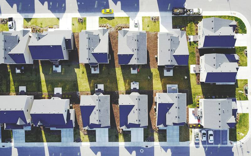 American-style large houses photographed from above