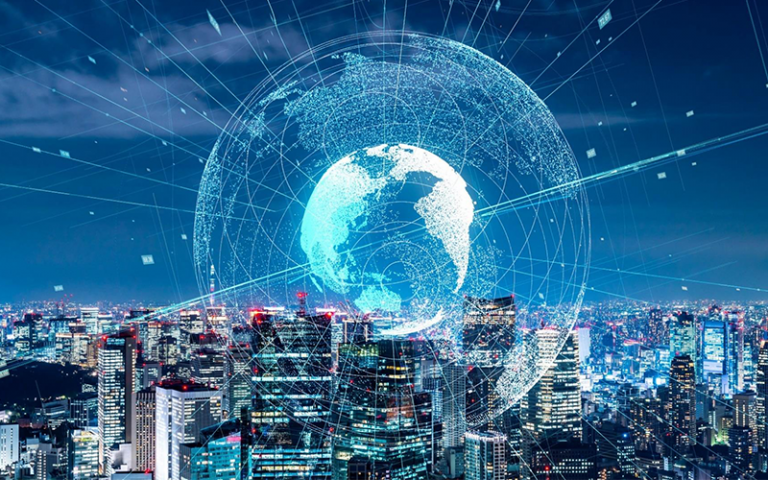 Animated image of a future city