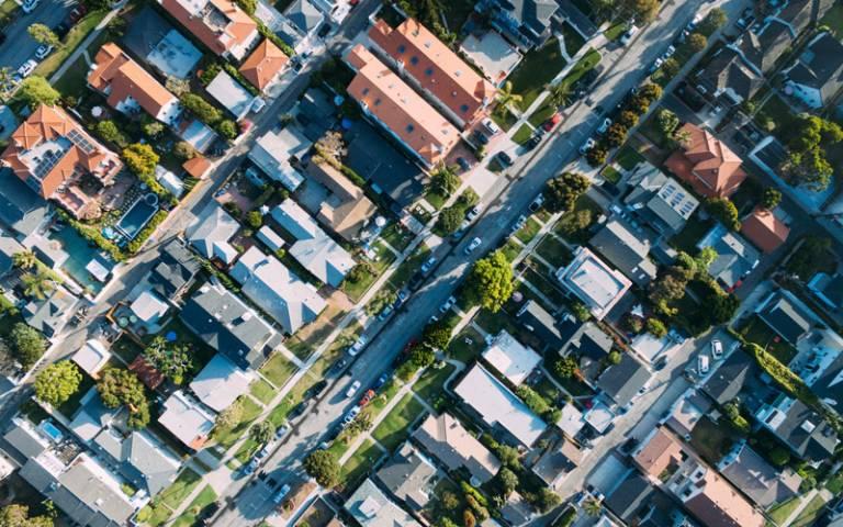 A birds-eye view of a colourful neighbourhood