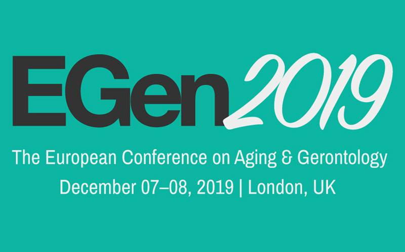EGen 2019 conference logo. Text says: The European Conference of Ageing and Gerontology, December 7-8 2019