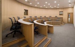 One of two Harvard-style lecture theatres in the Bartlett Real Estate Institute at UCL Here East