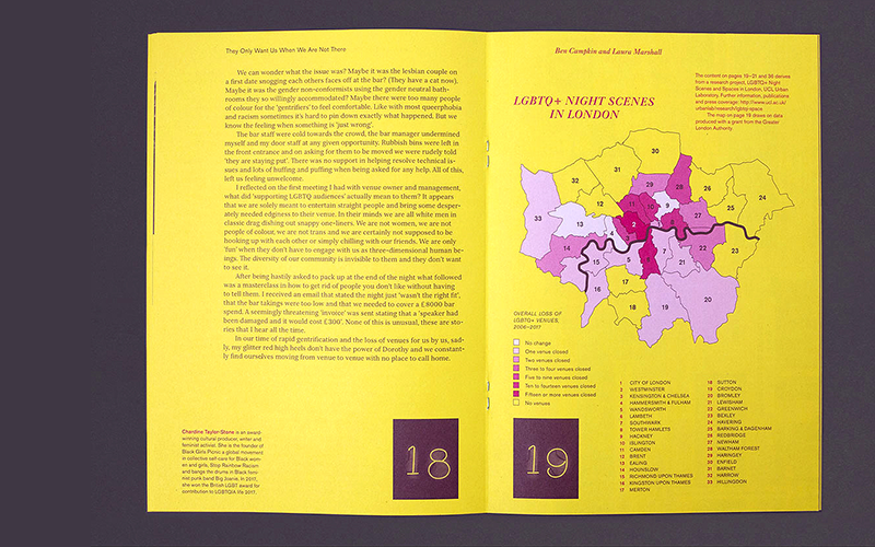 Map from Urban Pamphleteer #7 shows overall loss of LGBTQ+ venues from 2006–2017, produced during the course of research project LGBTQ+ Night Scenes and Spaces in London.