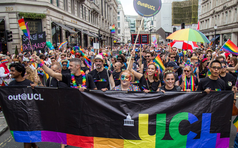 Members of Out@UCL marching in the 2018 London Pride parade
