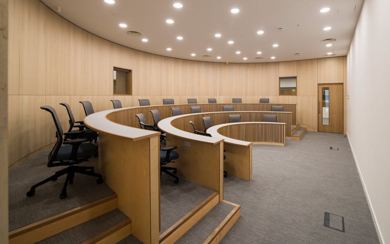 Harvard-style lecture theatre at The Bartlett Real Estate Institute, Here East