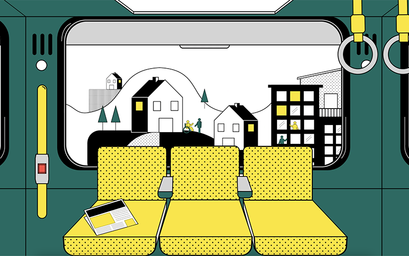 Animation of subway car with green walls and yellow seats. From the window are a landscape of houses, buildings, people and trees