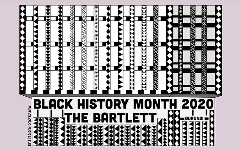 Text: Black History Month 2020 The Bartlett