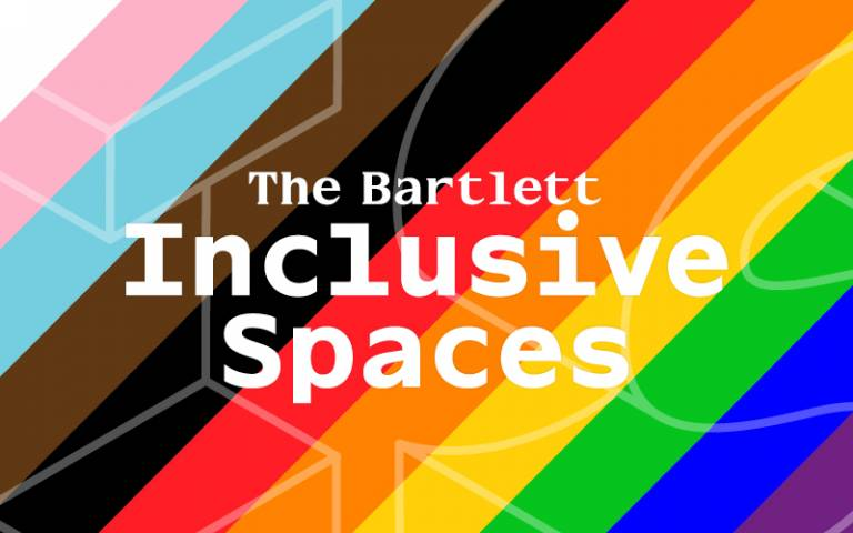 Rainbow coloured Inclusive Spaces logo