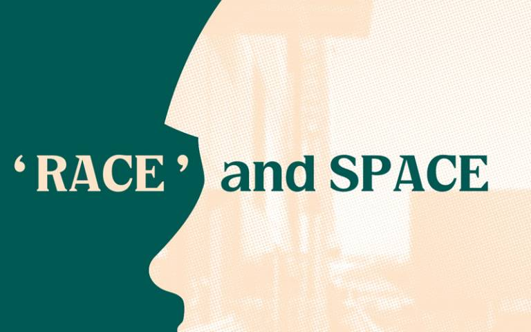 the words 'race and space' on a pink and green background