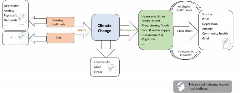 Diagram: drivers and consequences of climate change impact mental health.