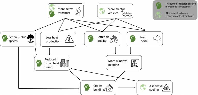 Diagram: Co-benefits of reducing fossil-fuelled transport.