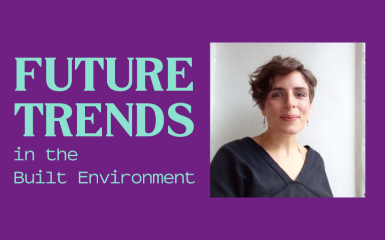 Image of woman with short brown hair and navy shirt on purple background. Teal text that reads: Future Trends in the  Built Environment
