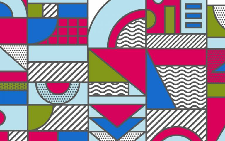 Bright graphic geometric pattern in blue green and pink.