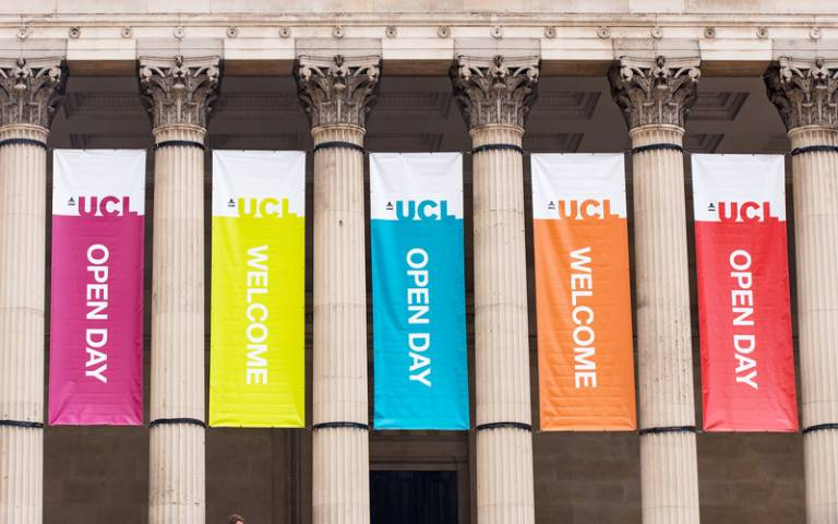 Open Day banners in UCL's main quad