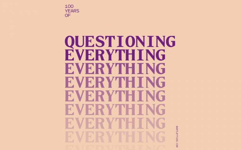 "Pink background with purple text on top reading: ""100 Years of Questioning Everything"""