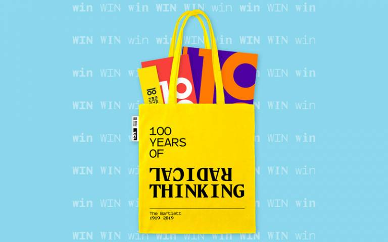 bartlett 100 tote bag graphic, full of bartlett 100 books and goodies