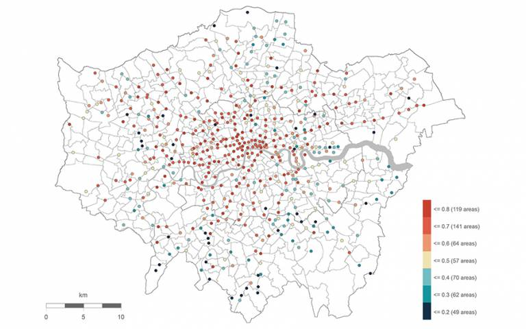 The metric of urban vitality calculated for an average working day in London: blue represents areas with the lowest level of vitality whereas red shows areas with the highest vitality.