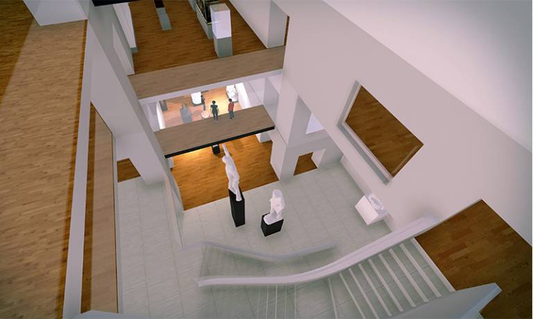 3D view of the virtual environment generated through the use of mixed techniques: 3D modelling, 3D scanning of the museum's collections, game design tools and geometry optimisation processes.