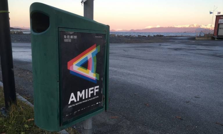 AMIFF (Arctic Moving Image and Film Festival) 2017 sign Harstad Photo by Ollie Palmer