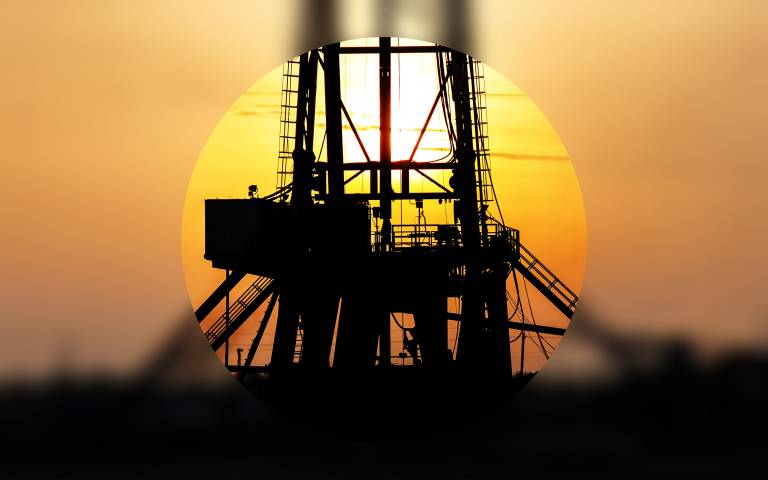 Drill with sunset blurred