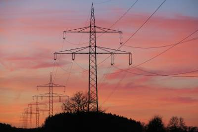Pylons with pink sky