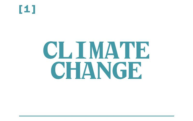 White background, teal text reading: [1] Climate Change