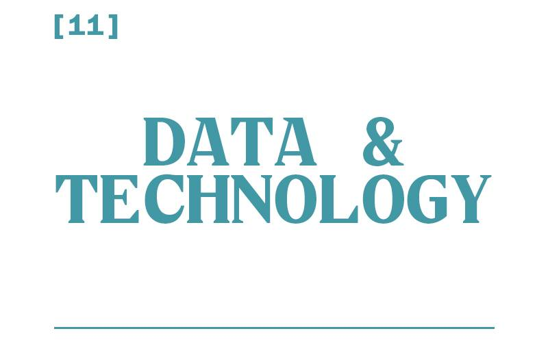 White background, teal text reading: [11] Data and Technology