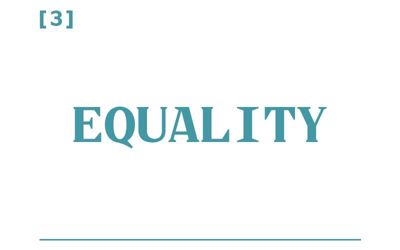 White background, teal text reading: [3] Equality