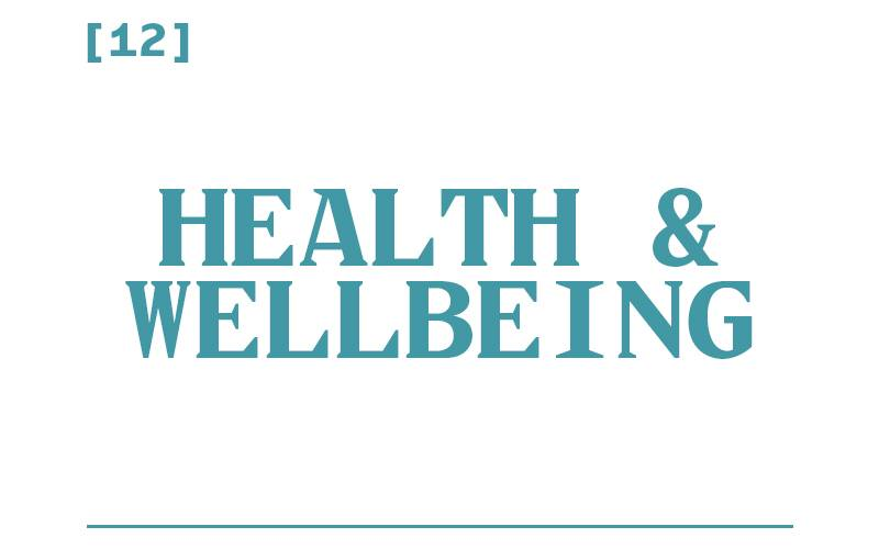 White background, teal text reading: [12] Health and Wellbeing