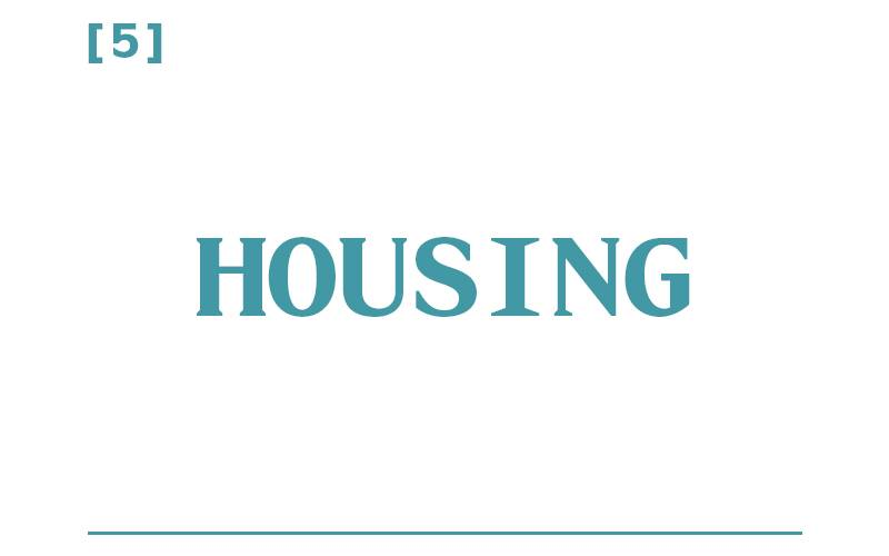 White background, teal text reading: [5] Housing