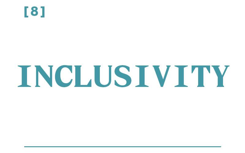 White background, teal text reading: [8] Inclusivity