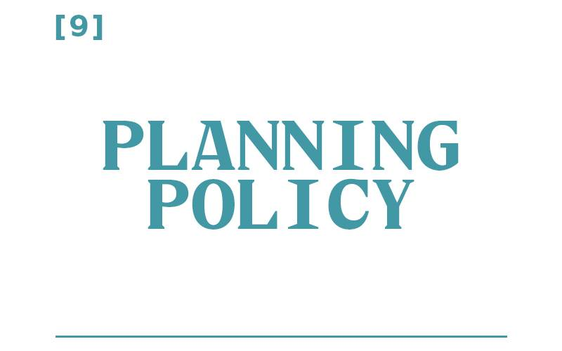 White background, teal text reading: [9] Planning Policy