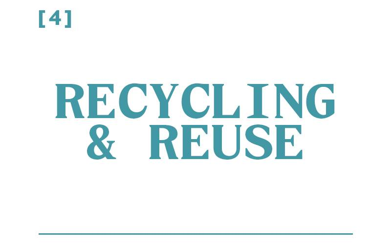 White background, teal text reading: [1] Recycling and Reuse