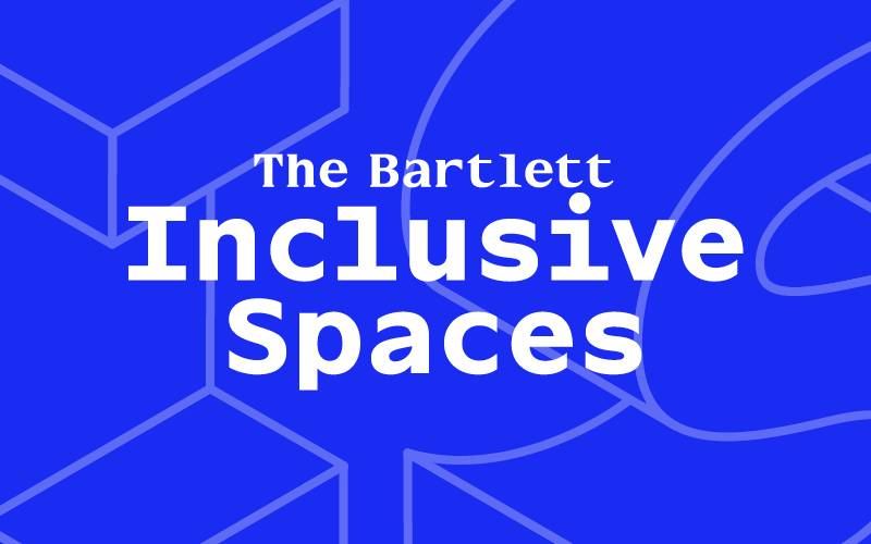 Text reads: The Bartlett Inclusive Spaces on purple background with large graphic letters I and S partially outlined in orange