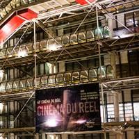 The Pompidou Centre in Paris with banner for Cinéma du Réel festival