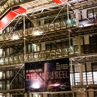 The Pompidou Centre in Paris with banner for Cinéma du Réel festival