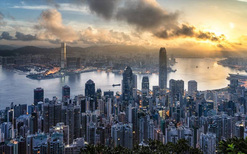 Hong Kong cityscape and sunset