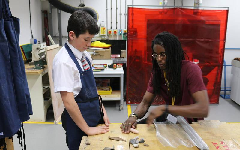 Students from Mossbourne Academy work on making door handles in their after school club with The Bartlett School of Architecture