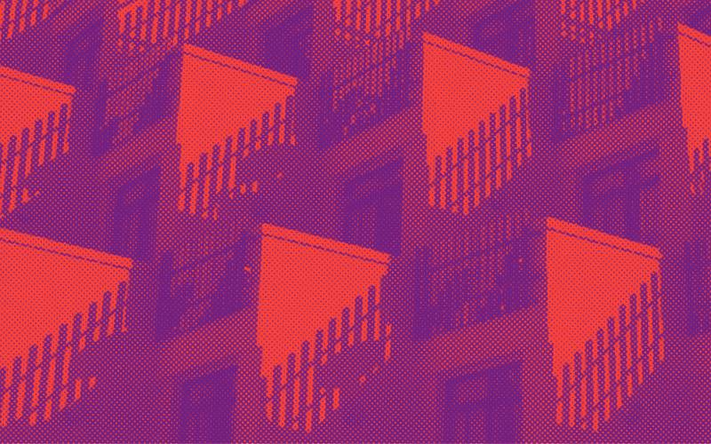 Abstract image of a terraced apartment complex with shadows casting on the sides of the building from the balcony fence. A purple and red filter sit overtop the image