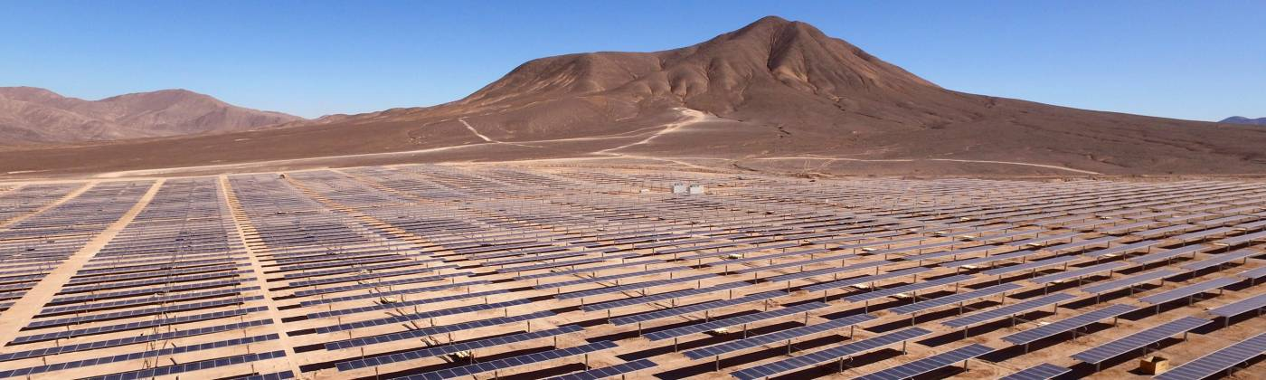 Solar panels in desert in Chile