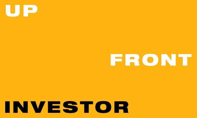 Graphically designed image with a yellow background and text reading 'upfront investor' in block capitals