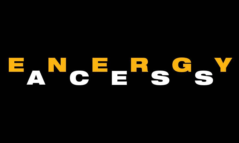 Graphically designed image with a black background and text reading 'energy access' in block capitals