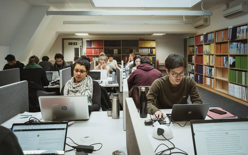 Students studying in The Bartlett library