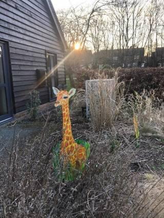 Giraffe statue in garden