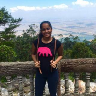 Shanali Pethiyagoda with a countryside backdrop
