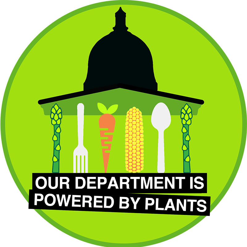 Powered by Plants logo - an illustration of the UCL portico with a carrot, asparagus spear, corn cob and knife and fork replacing the columns