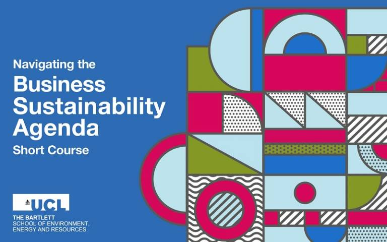 Navigating the Business Sustainability Agenda written on a blue background