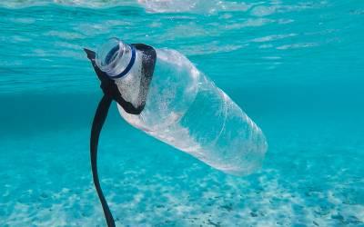 A plastic bottle in the ocean